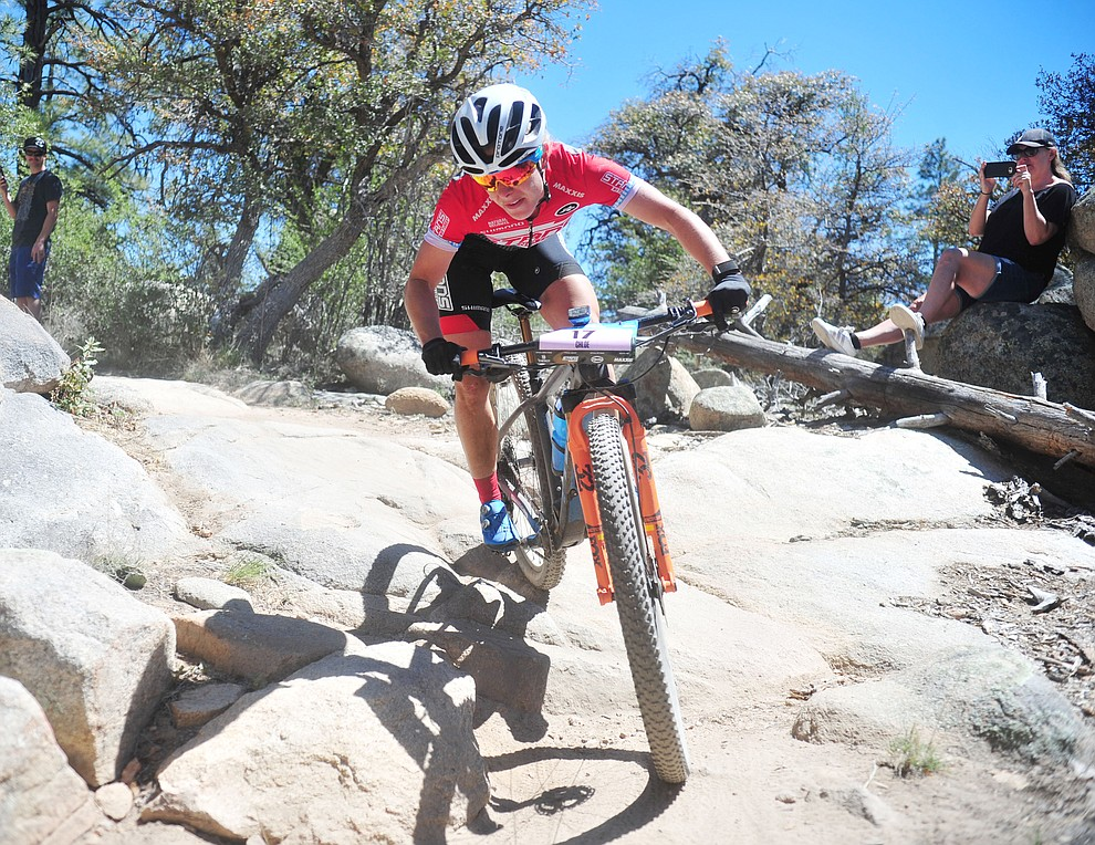 Stans Pivot rider Chloe Woodruff during the Whiskey Off Road Pro 50-mile cross country mountain bike race in Prescott Sunday, April 28.  (Les Stukenberg/Courier)