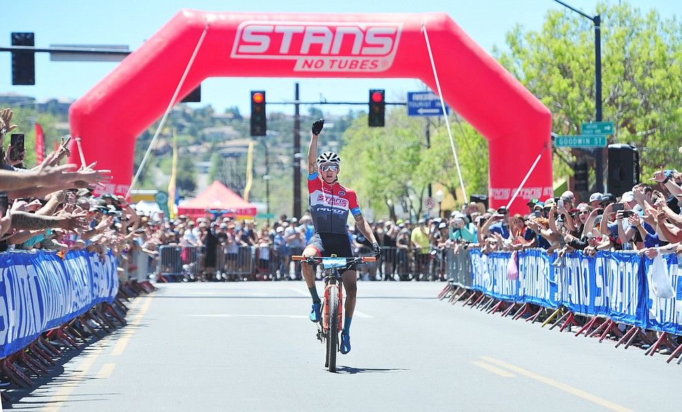 Stans Pivot rider Keegan Swenson wins the Whiskey Off Road Pro 50-mile cross country mountain bike race in Prescott Sunday, April 28.  (Les Stukenberg/Courier)