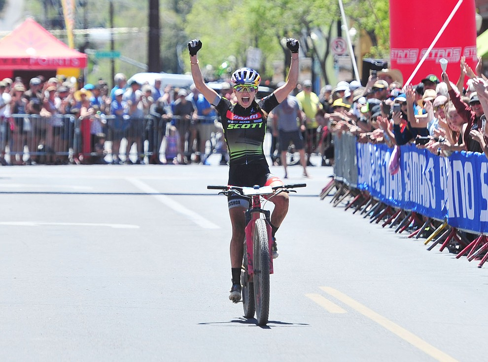 Kate Courtney wins the Whiskey Off Road Pro 50-mile cross country mountain bike race in Prescott Sunday, April 28.  (Les Stukenberg/Courier)
