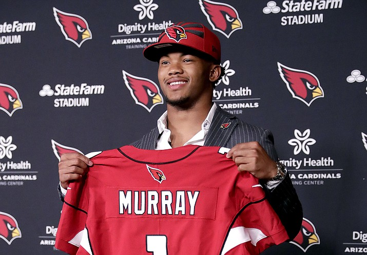 Arizona Cardinals NFL football quarterback Kyler Murray is introduced, Friday, April 26, 2019, at the Cardinals' practice facility in Tempe. (Matt York/AP)