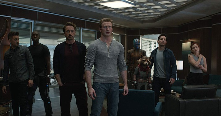 """Marvel favorites are back for """"Avengers: Endgame."""" This image released by Disney shows just a few of the characters that will be in this film. (Disney/Marvel Studios)"""