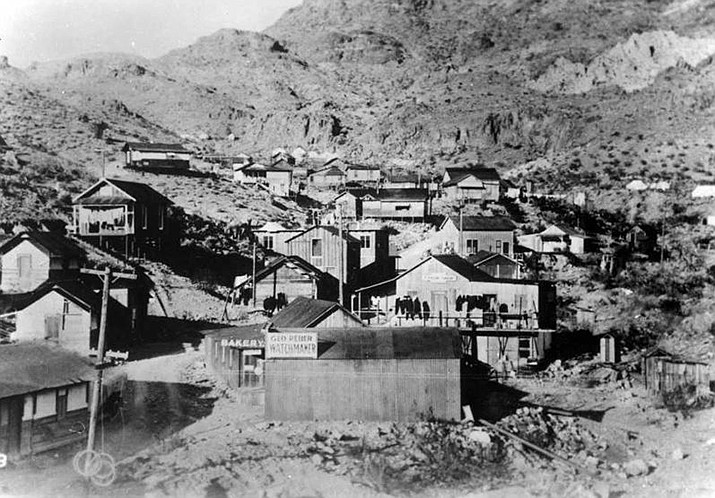 A view of portion of town of Oatman looking Northwest taken around 1918. While Oatman itself was considered a dry mining town, that didn't stop the 49 camp from thriving just a mile outside the boundary. Several men from the 49 camp outside of Kingman were arrested in 1916 on charges of white slavery, a form of human sex trafficking. (Photo courtesy Mohave Museum of History and Arts)