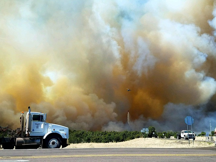 The 377 Fire in Navajo County started when dragging metal on a trailer sparked several fires along 24 miles of State Route 377 between Heber-Overgaard and Holbrook. (Photo/USFS)