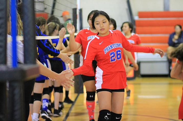 The Grand Canyon Phantoms middle school volleyball A team faced off against the Ash Fork Spartans in tournament play April April 26 in Williams. (Wendy Howell/WGCN)