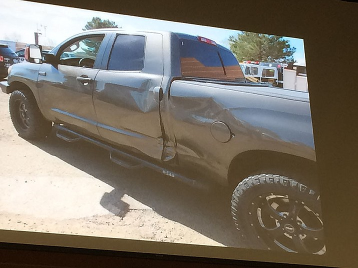 Prescott Valley Town Council members viewed a photo of the Police Department's current PANT vehicle, known by drug dealers because of damage from collisions and bullet holes. Council approved purchase of a newer vehicle. (Sue Tone/Tribune)