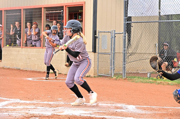 Viking Maddie Jensen bunts during a game with Needles April 23. (Wendy Howell/WGCN)