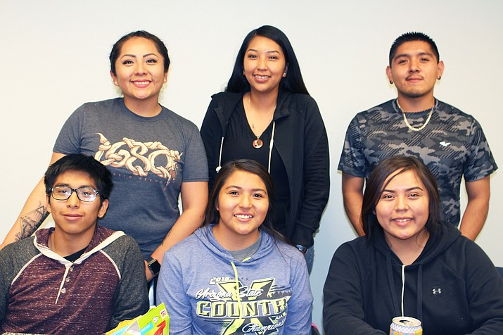 Samantha Honanie and Xavier Sakeva from the Hopi Youth Leadership program sandwich Lucy Nahsohoyga in the back row. Front, from left: Hopi High students Daniel Harris, Latifah Huma and Kierra Lee. (Stan Bindell/NHO)