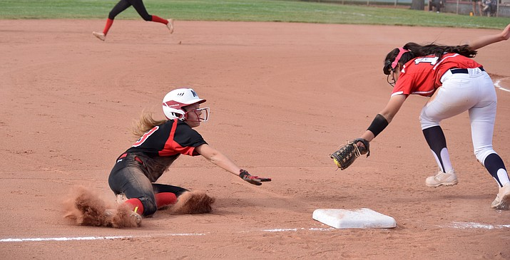 Mingus freshman Ella Behlow steals third during the Marauders' 9-1 win over Sahuaro on Tuesday at home. VVN/James Kelley