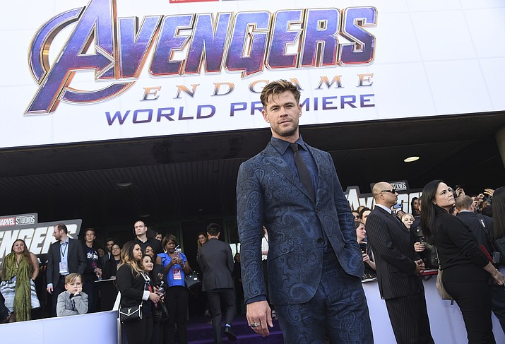 """Chris Hemsworth arrives at the premiere of """"Avengers: Endgame"""" at the Los Angeles Convention Center on Monday, April 22, 2019. (Chris Pizzello/Invision/AP)"""