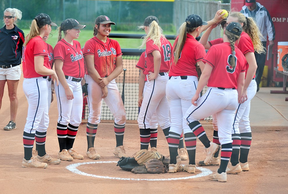 Bradshaw Mountain's gather before the Bears host Canyon del Oro in the second round of the Arizona Interscholastic Association State Softball Tournament in Prescott Valley Thursday, May 2.  (Les Stukenberg/Courier)
