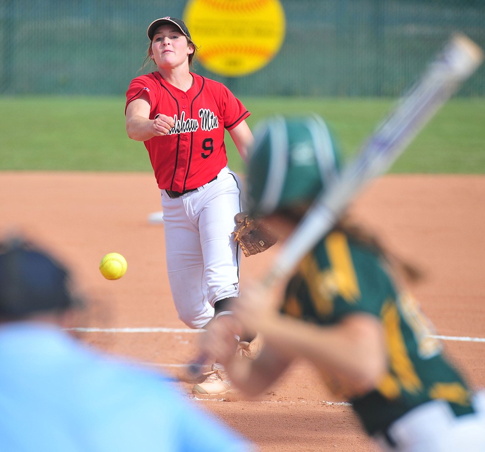 Bradshaw Mountain's Caitlynn Neal delivers a pitch as the Bears host Canyon del Oro in the second round of the Arizona Interscholastic Association State Softball Tournament in Prescott Valley Thursday, May 2.  (Les Stukenberg/Courier)