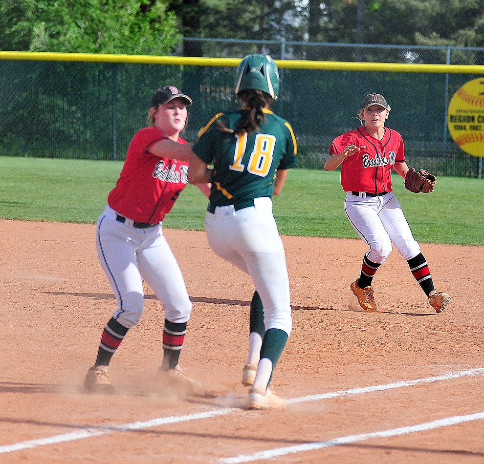 Bradshaw Mountain's Caitlynn Neal tags out a runner as the Bears host Canyon del Oro in the second round of the Arizona Interscholastic Association State Softball Tournament in Prescott Valley Thursday, May 2.  (Les Stukenberg/Courier)