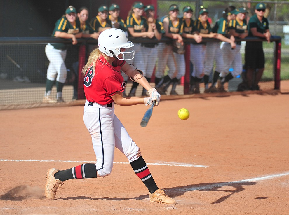 Bradshaw Mountain's Kassidy Outlaw makes contact as the Bears host Canyon del Oro in the second round of the Arizona Interscholastic Association State Softball Tournament in Prescott Valley Thursday, May 2.  (Les Stukenberg/Courier)