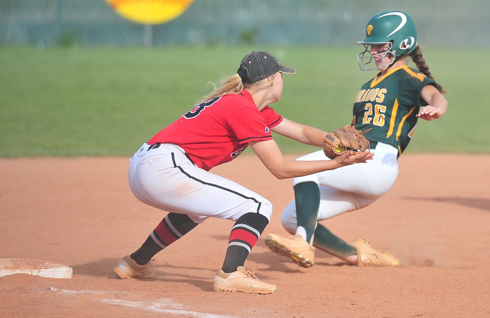 Bradshaw Mountain's Kassidy Outlaw tries to make a play at third as the Bears host Canyon del Oro in the second round of the Arizona Interscholastic Association State Softball Tournament in Prescott Valley Thursday, May 2.  (Les Stukenberg/Courier)