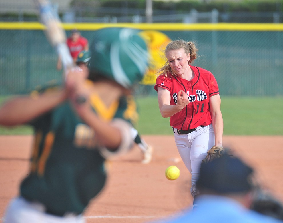 Bradshaw Mountain's Jacie Hambrick delivers a pitch in relief as the Bears host Canyon del Oro in the second round of the Arizona Interscholastic Association State Softball Tournament in Prescott Valley Thursday, May 2.  (Les Stukenberg/Courier)
