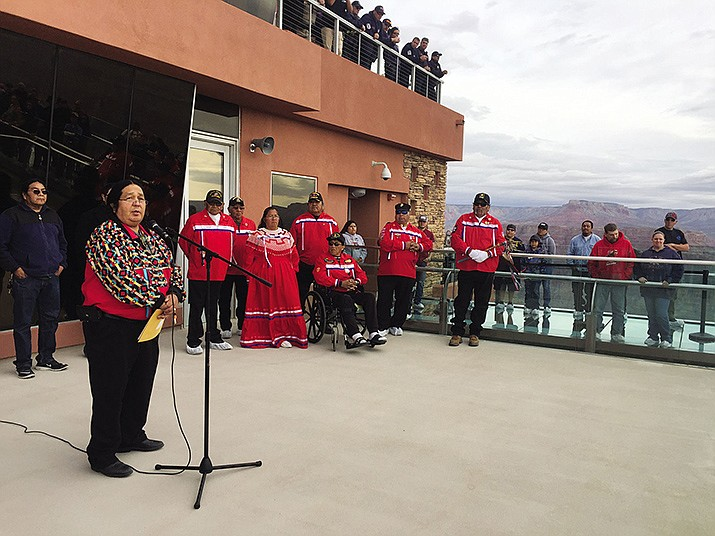Hualapai Tribal Chairman Dr. Damon R. Clarke reads a proclamation from Gov. Doug Ducey back in 2017. (Daily Miner file photo)