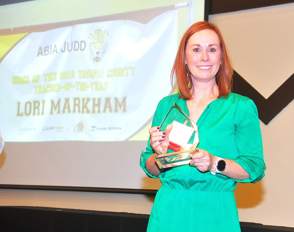 Abia Judd Elementary School's Lori Markham was named overall Teacher of the Year as the Yavapai County Education Foundation held their 25th annual Teacher of the Year Banquet at the Prescott Resort Friday, May 3. (Les Stukenberg/Courier)