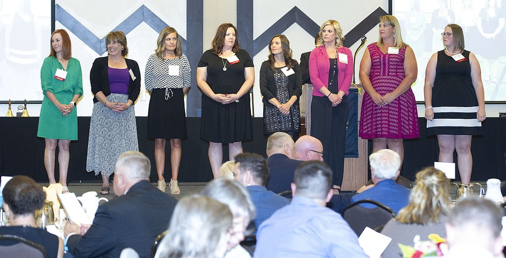 Nominees from the K-2nd grade stand on the stage as the Yavapai County Education Foundation held their 25th annual Teacher of the Year Banquet at the Prescott Resort Friday, May 3. (Les Stukenberg/Courier)