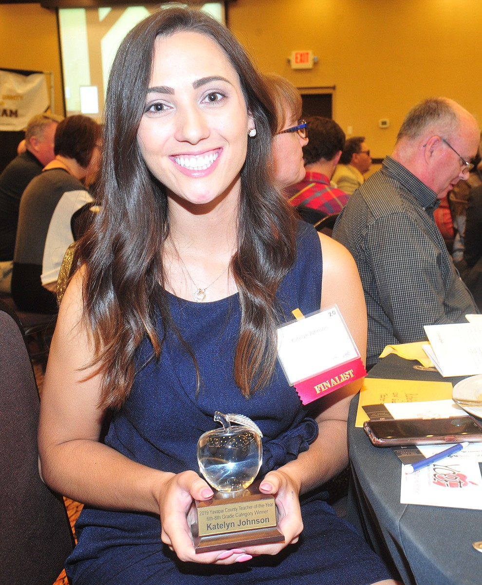 Glassford Hill Middle School's Katelyn Johnson won the 6th-8th grade Teacher of the Year as the Yavapai County Education Foundation held their 25th annual Teacher of the Year Banquet at the Prescott Resort Friday, May 3. (Les Stukenberg/Courier)