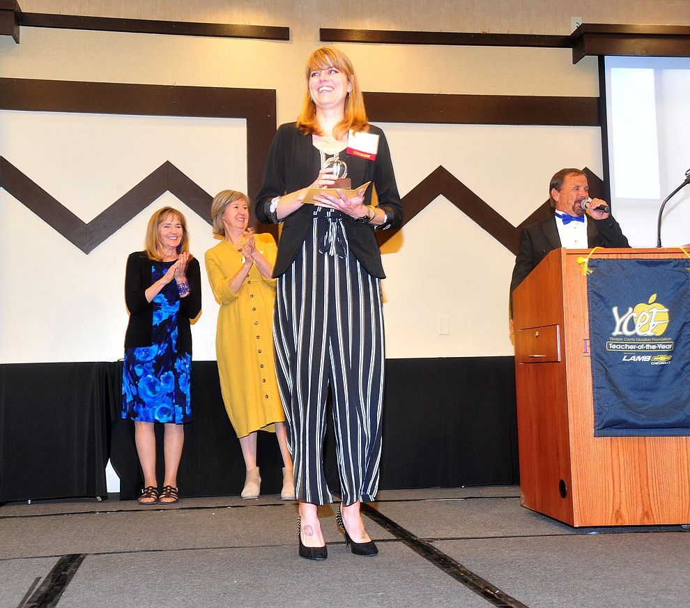 Coyote Springs Elementary School's Jessica Kissinger was named the K-8 Specialist Teacher of the Year as the Yavapai County Education Foundation held their 25th annual Teacher of the Year Banquet at the Prescott Resort Friday, May 3. (Les Stukenberg/Courier)