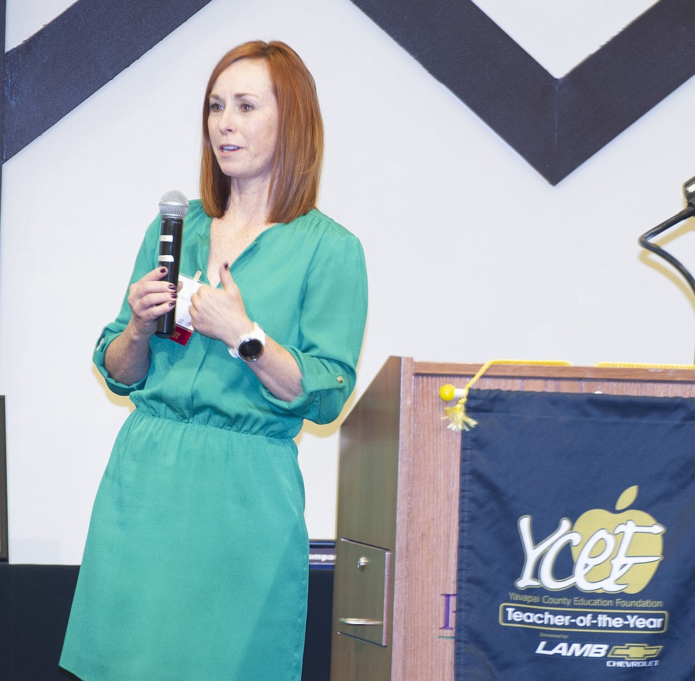 Abia Judd Elementary School's Lori Markham speaks after being named overall Teacher of the Year as the Yavapai County Education Foundation held their 25th annual Teacher of the Year Banquet at the Prescott Resort Friday, May 3. (Les Stukenberg/Courier)