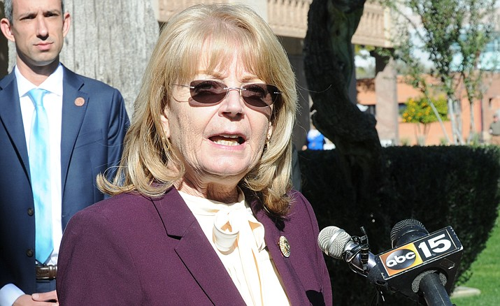 Senate President Karen Fann in an undated file photo. Arizonans hit with higher state income taxes this year due to changes in federal tax law are not going to get any relief -- at least not this year. But Fann said lawmakers in her Republican caucus want some assurance that the extra cash won't be just squirreled away, as proposed by Gov. Doug Ducey. (Howard Fischer/Capitol Media Services, file)