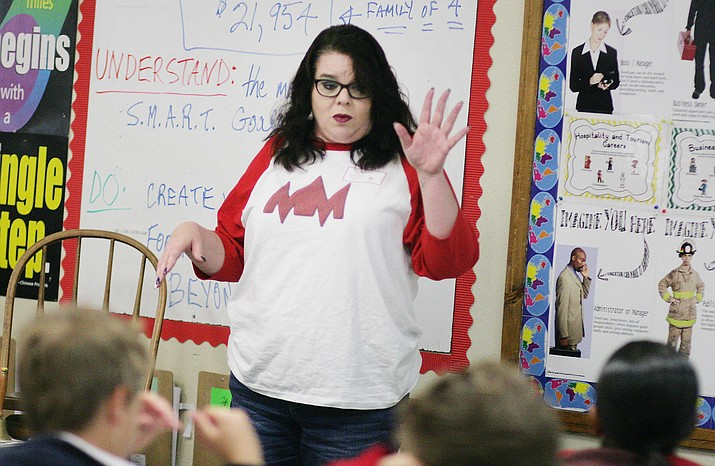Myss Miranda tells Beaver Creek students about her career as a web designer and owner of The Myss Miranda Agency, during the school's first Career Day. VVN/Bill Helm