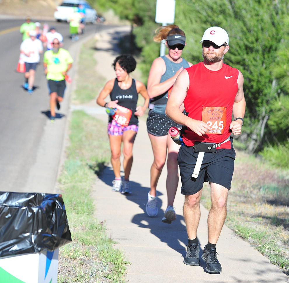 Half-marathon runners head up Hassyampa during the 41st annual Whiskey Row Marathon  Saturday, May 4. (Les Stukenberg/Courier)
