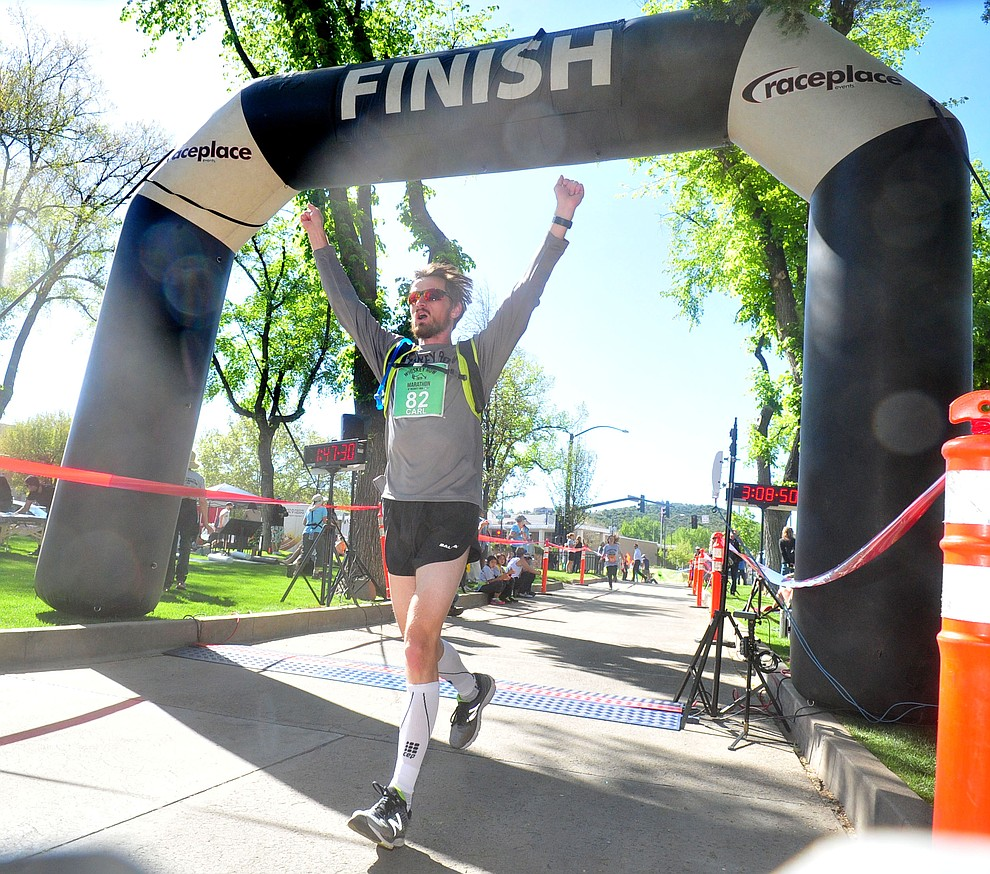Forer Prescott resident Carl Zapfe finishes second in the marathon during the 41st annual Whiskey Row Marathon  Saturday, May 4. (Les Stukenberg/Courier)