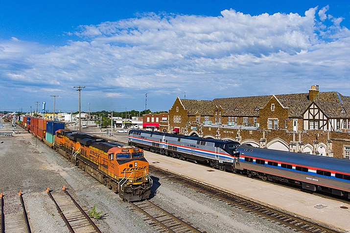 The Southwest Chief is shown during a stop in Newton, Kansas. The train passes through Kingman twice each day. (Photo courtesy of Amtrak)