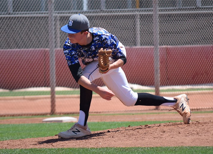 Bagdad freshman Connor Watson was the winning pitcher in the Sultans' 19-0 run-ruled victory over Mohave Accelerated in the 1A state tournament quarterfinals May 4 at the Goodyear Baseball Complex. Watson tossed a one-hit shutout, registering 10 strikeouts and issuing no walks, in five innings for the defending 1A state champs. (Courtesy/Sylvia Andrews)
