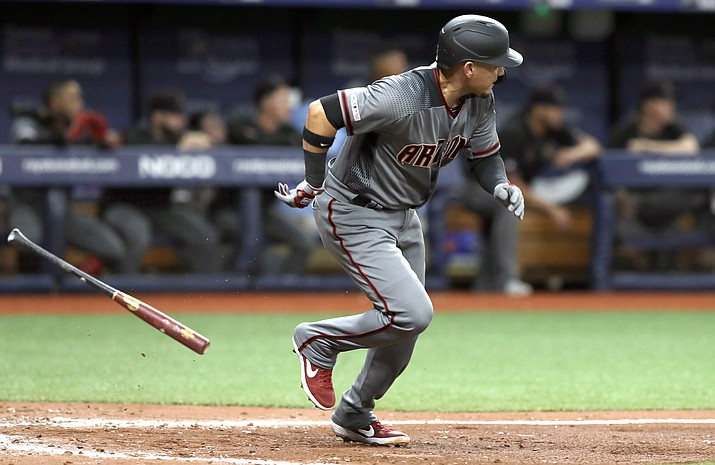 Arizona Diamondbacks' Ildemaro Vargas singles off Tampa Bay Rays starting pitcher Blake Snell, breaking up Snell's no-hitter, during the sixth inning of a baseball game Monday, May 6, 2019, in St. Petersburg, Fla. (AP Photo/Chris O'Meara)