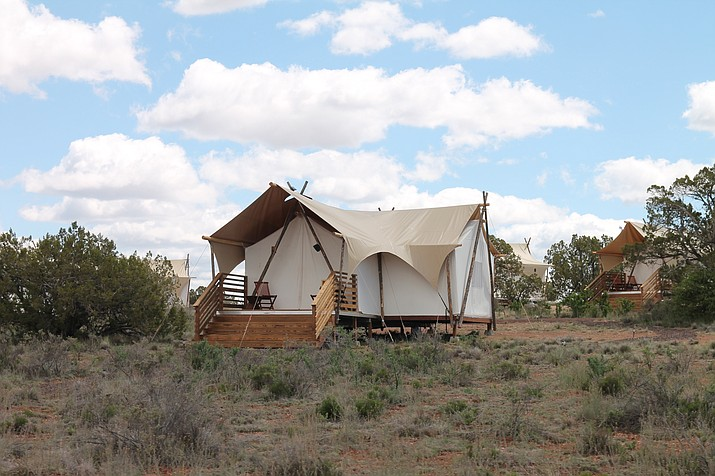 Under canvas provides a camping experience for visitors who may not have their own equipment or simply don't want to rough it while taking in the unique high desert landscape. Suite tents (above) provide ample space for a family of four. (Erin Ford/WGCN)
