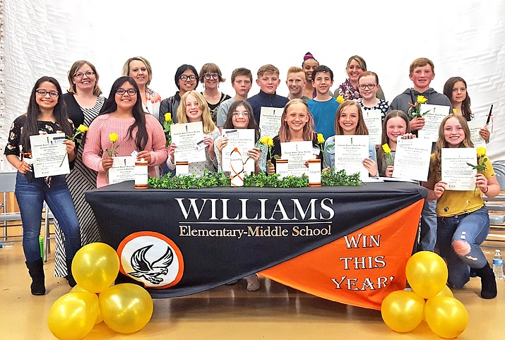 Williams Elementary-Middle School inducted students into the National Junior Honor Society April 29. (WEMS photo)