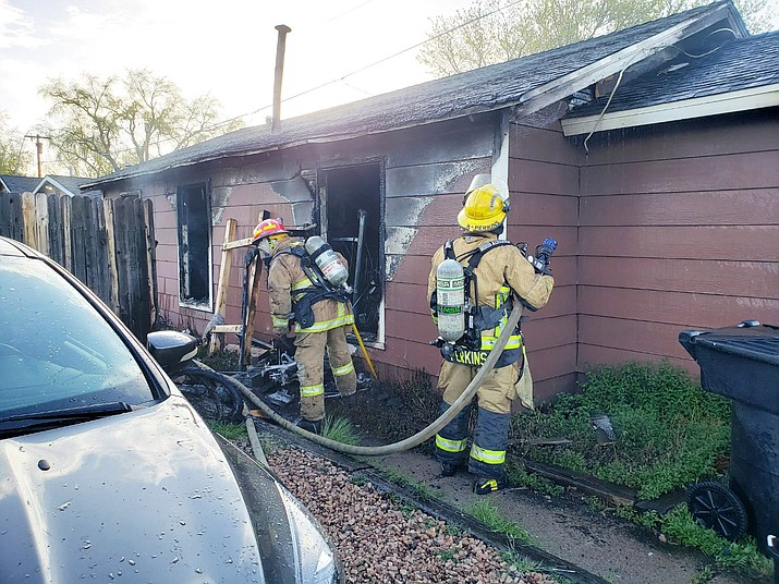 A house fire was reported May 3 at 418 S. 5th Street in Williams. Williams Volunteer Fire Department responded to the incident with additional back-up from Ponderosa Fire Department. (Photos/Williams Volunteer Fire Department)