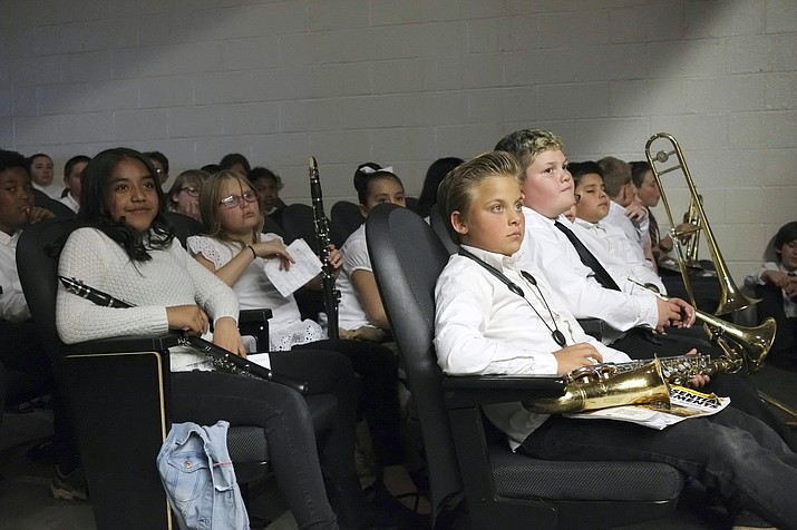 Middle school band students await their turn to perform at the spring concert May 1. (Loretta Yerian/WGCN)