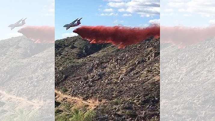 Air tankers are fighting the Mill Fire, near Crown King, because of the rough terrain, according to the Bureau of Land Management. (BLM/Courtesy)