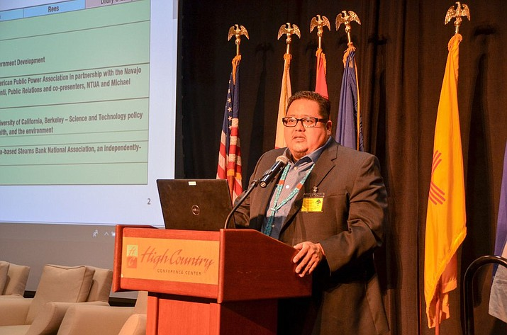 Navajo Nation Council Speaker Seth Damon delivers remarks on sustainable development on the Navajo Nation at the Navajo Nation Sustainability Symposium at the High Country Conference Center in Flagstaff April 30. (Navajo Nation Speaker's Office)