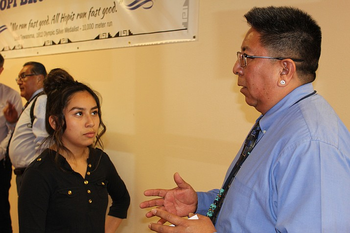 Hopi Chairman Timothy Nuvangyaoma answers a question from Olivia Adams (name check tomorrow).(Stan Binell/NHO)