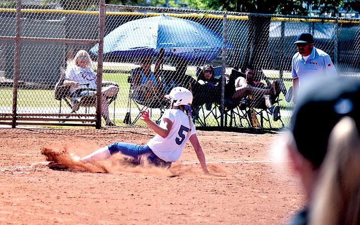 Camp Verde senior Rachel Stockseth steals third during the Cowboys' 10-0 win over Globe on Saturday VVN/James Kelley