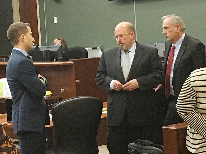A Yavapai County jury is currently deliberating the fate of Thomas Chantry, center, the former pastor of the Miller Valley Baptist Church in Prescott, who is being retried on four molestation charges that involve the same accuser in a case that ended with a hung jury this past summer. (Vyto Starinskas/Verde Independent)