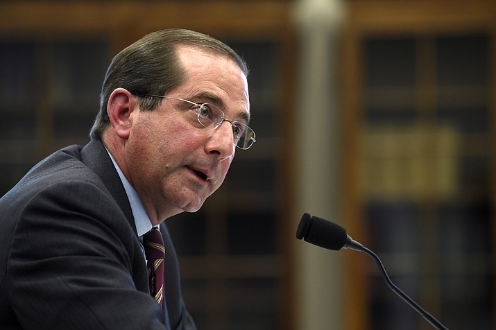 Health and Human Services Secretary Alex Azar testifies before a House Appropriations subcommittee on Capitol Hill on March 13, 2019, in Washington. Azar says drugmakers will soon have to reveal prices of their prescription medicines in those ever-present TV ads. (Susan Walsh/AP, File)
