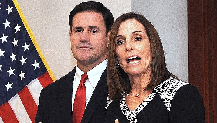Arizona Gov. Doug Ducey and U.S. Sen. Martha McSally (Capitol Media Services file photo by Howard Fischer)