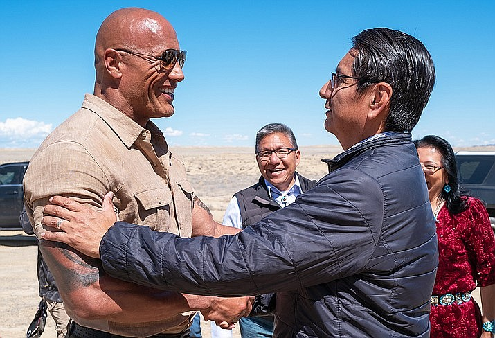 Navajo Nation President Jonathan Nez welcomes blockbuster movie star Dwayne Johnson to the Navajo Nation as filming wraps for Jumanji 3, due out in theaters Dec. 13. (Photo courtesy of Hiram Garcia)