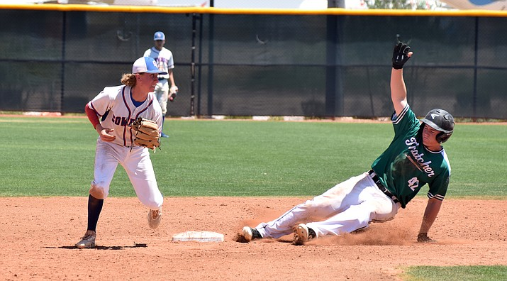 Camp Verde senior Dakota Battise forces out an Eagle during the Cowboys' 7-4 win over Thatcher in the state tournament on Saturday in Goodyear. VVN/James Kelley