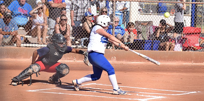 Camp Verde sophomore Casandra Casillas gets a hit during the Cowboys' 10-0 win over Globe in the state tournament on Saturday in Phoenix. VVN/James Kelley