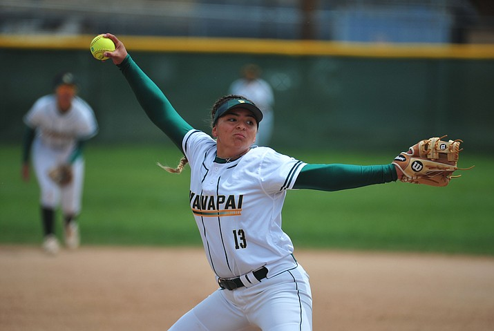 Yavapai's Kendra Duran delivers a pitch as the Roughriders take on the Phoenix Bears Thursday, April 4 in Prescott. She will be an integral part to the Roughriders' pitching rotation at the regional tournament in Yuma this weekend. (Les Stukenberg/Courier, file)