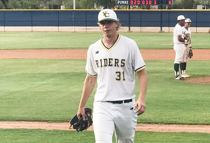 Trey Morrill (31) walks to the dugout after being removed in the eighth inning. The freshman went 7-1/3 innings pitched, allowed four hits and one unearned run on 10 strikeouts in an 8-1 win over Central Arizona on Thursday, May 9, 2019, in Phoenix. Game two of the NJCAA Region I Playoff finals is scheduled for Friday, May 10, at Paradise Valley Community College. First pitch is set for 2 p.m. (Brad Clifford/Courtesy)