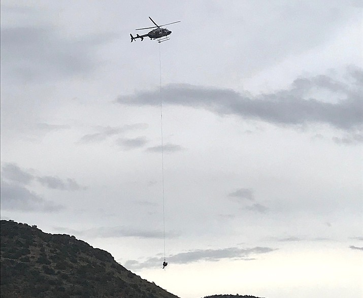 The hiker was picked up by the DPS Ranger helicopter and brought to a landing zone to be transported by a medical helicopter. Copper Canyon courtesy photo