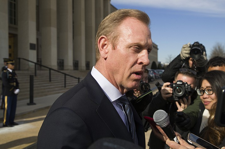 Acting Defense Secretary Pat Shanahan speaks with the media Jan. 28, 2019, as he waits for the arrival of NATO Secretary General Jens Stoltenberg at the Pentagon in Washington. (Alex Brandon/AP, File)